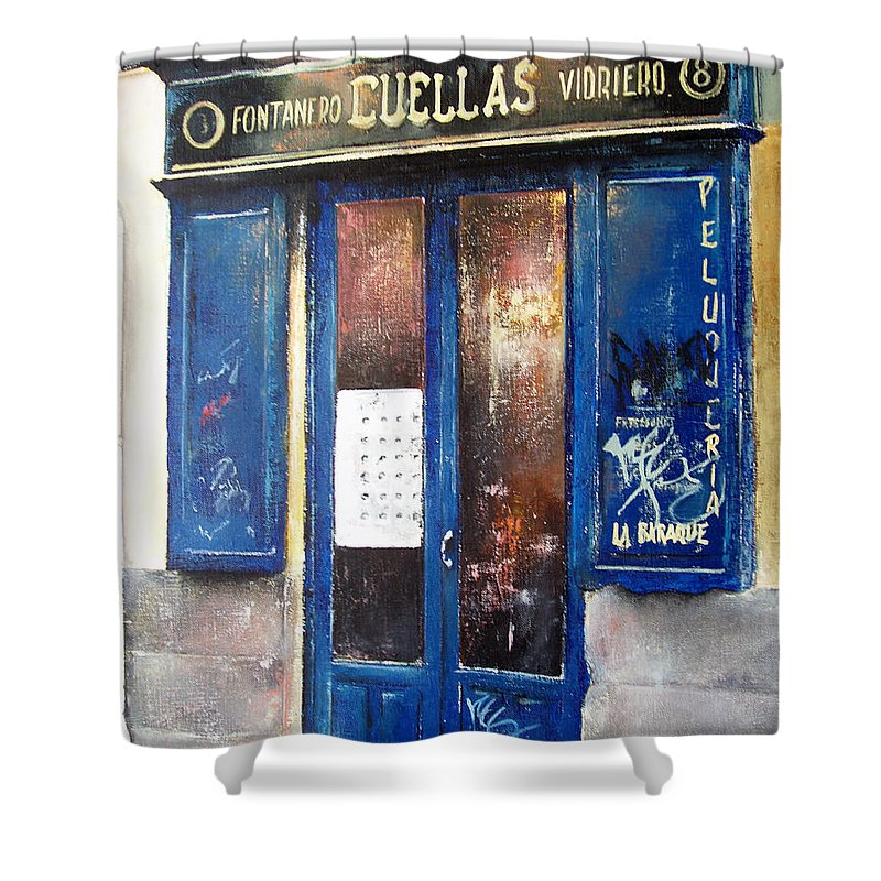 Old Shower Curtain featuring the painting Old Plumbing-Madrid by Tomas Castano