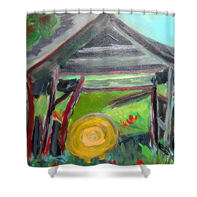 Rural Life Shower Curtain featuring the painting Old Plyler Mill Haybard by Max Bowermeister