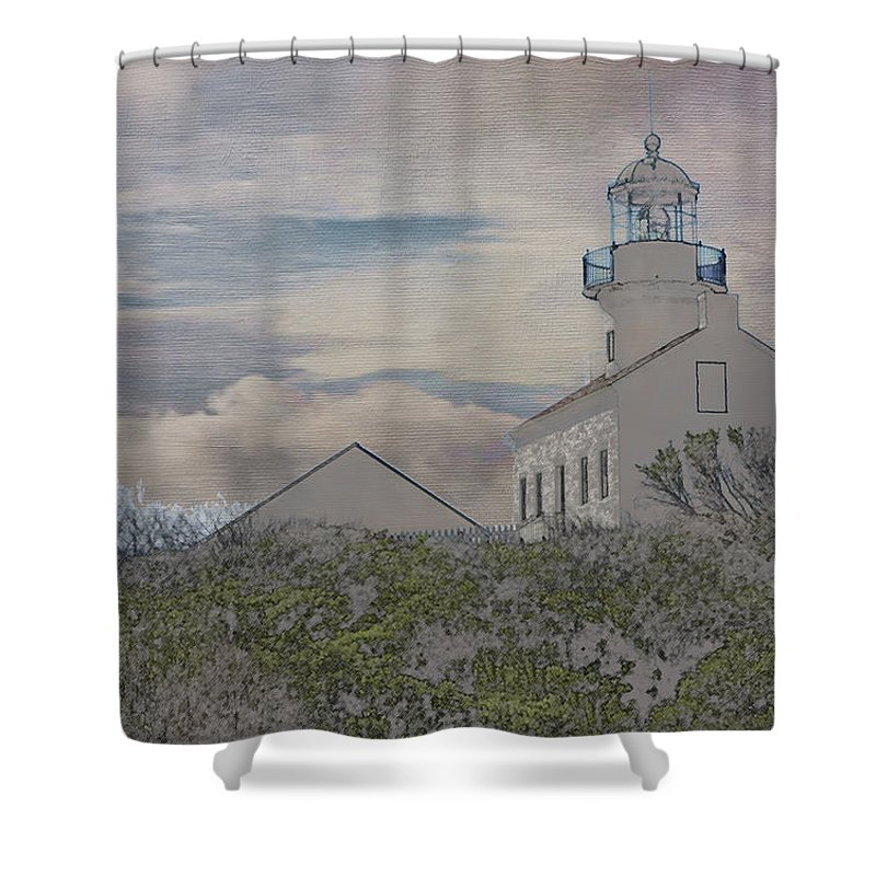 Europe Shower Curtain featuring the photograph Old Point Loma Lighthouse by Linda Dunn
