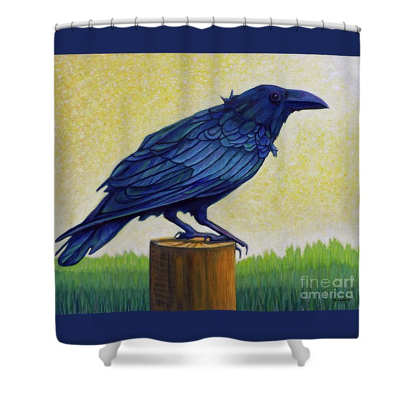 Raven Shower Curtain featuring the painting Old Priest In Passion by Brian Commerford