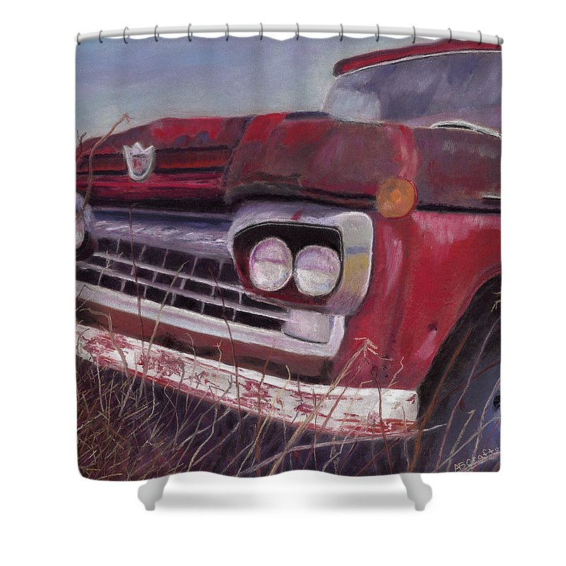 Truck Shower Curtain featuring the painting Old Red by Arlene Crafton