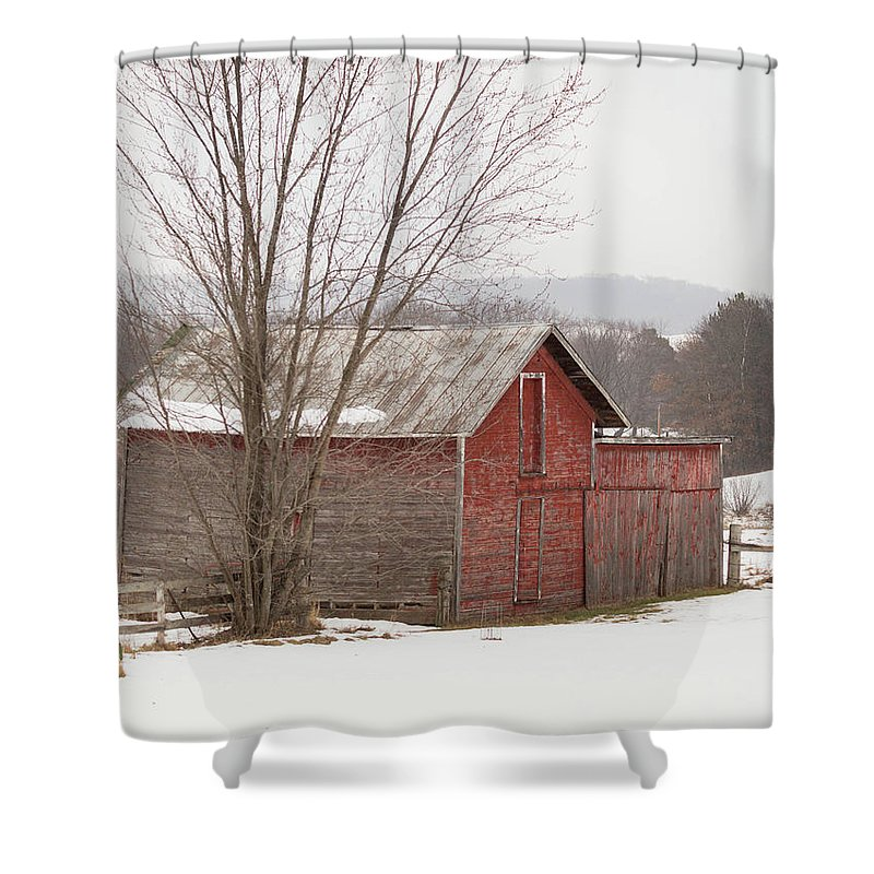 Old Shower Curtain featuring the photograph Old Red by Brittany Lofgren
