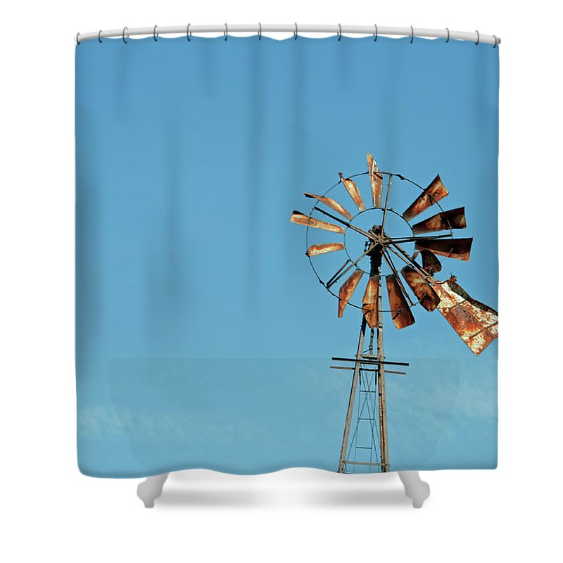 Windmill Shower Curtain featuring the photograph Old Rusty by David Arment