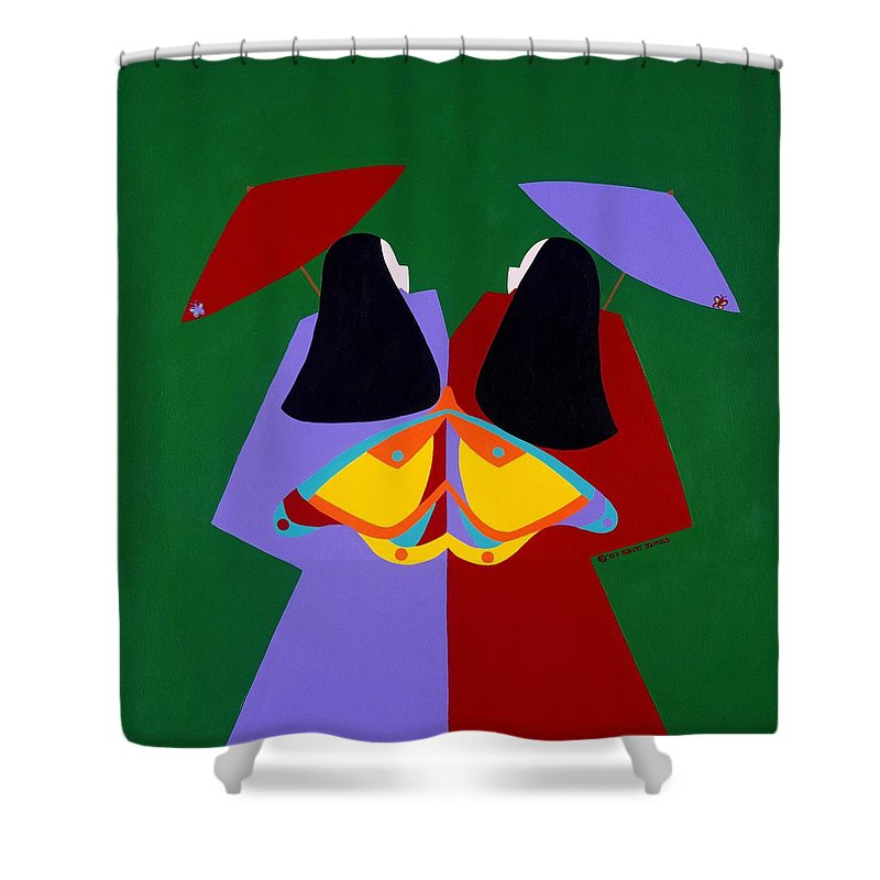 Asian Shower Curtain featuring the painting Old Same by Synthia SAINT JAMES