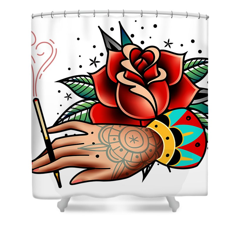 Hand Shower Curtain Featuring The Digital Art Old School Tattoo By Elena Butenko