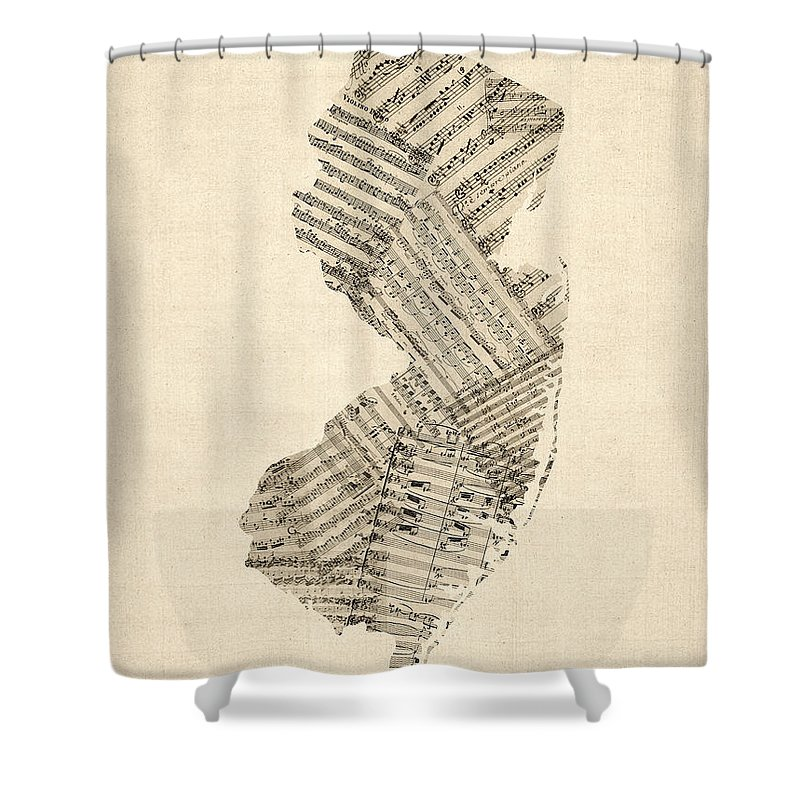 New Jersey Shower Curtain featuring the digital art Old Sheet Music Map Of New Jersey by Michael Tompsett