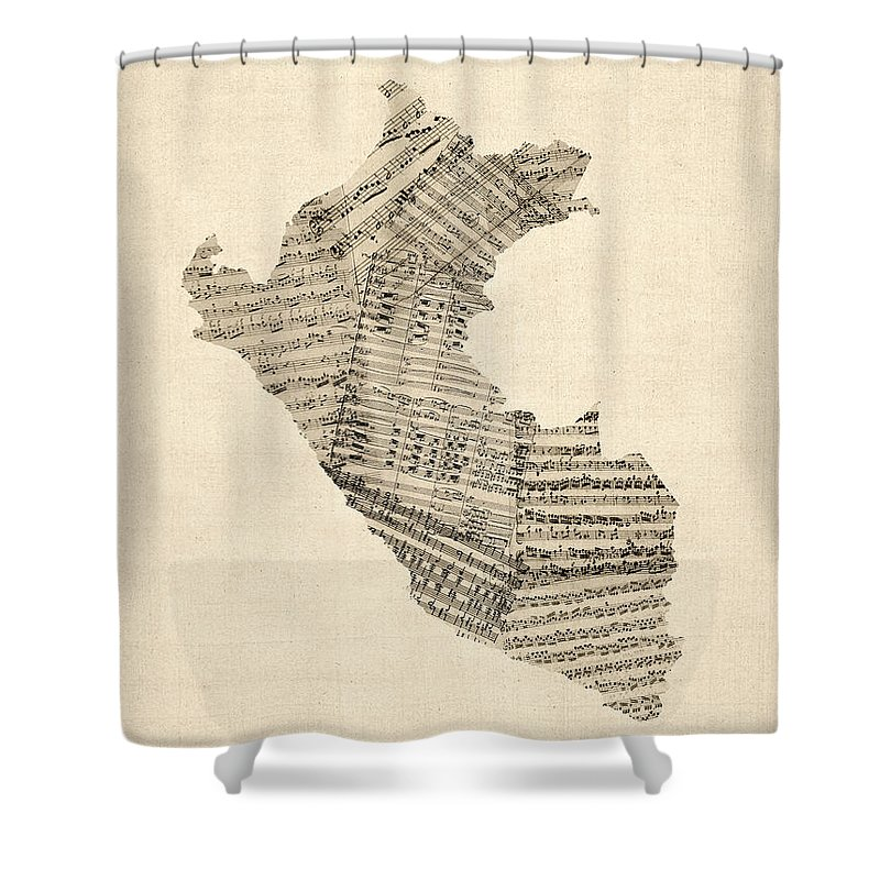 Peru Map Shower Curtain Featuring The Digital Art Old Sheet Music Of By