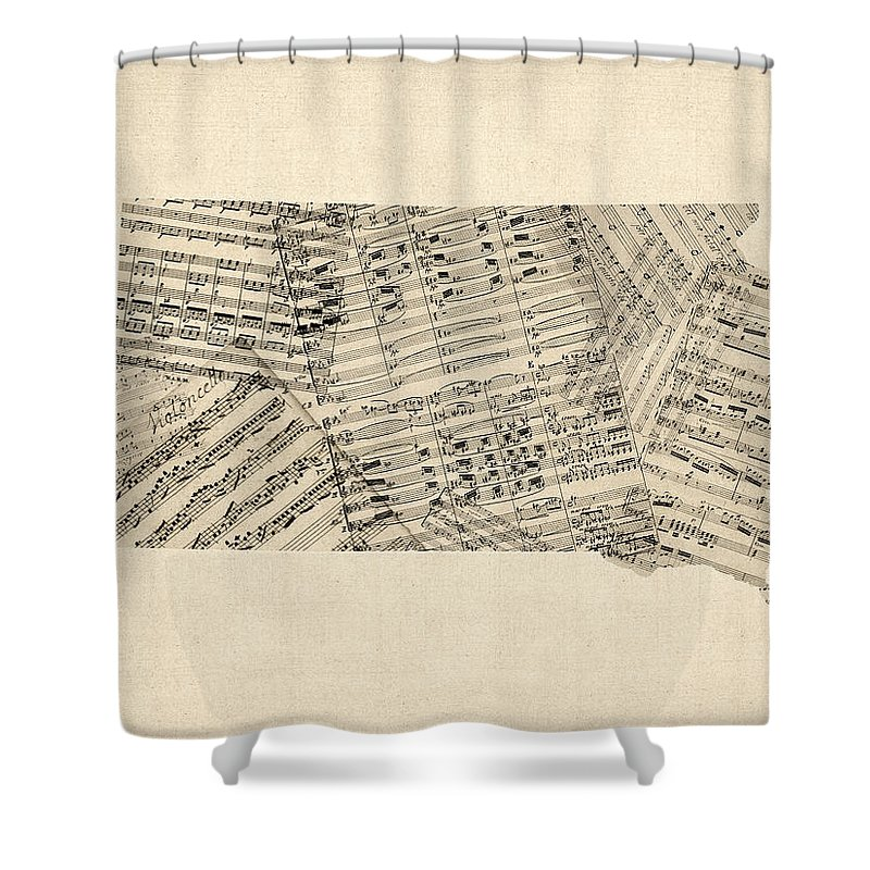 South Dakota Shower Curtain Featuring The Digital Art Old Sheet Music Map Of By