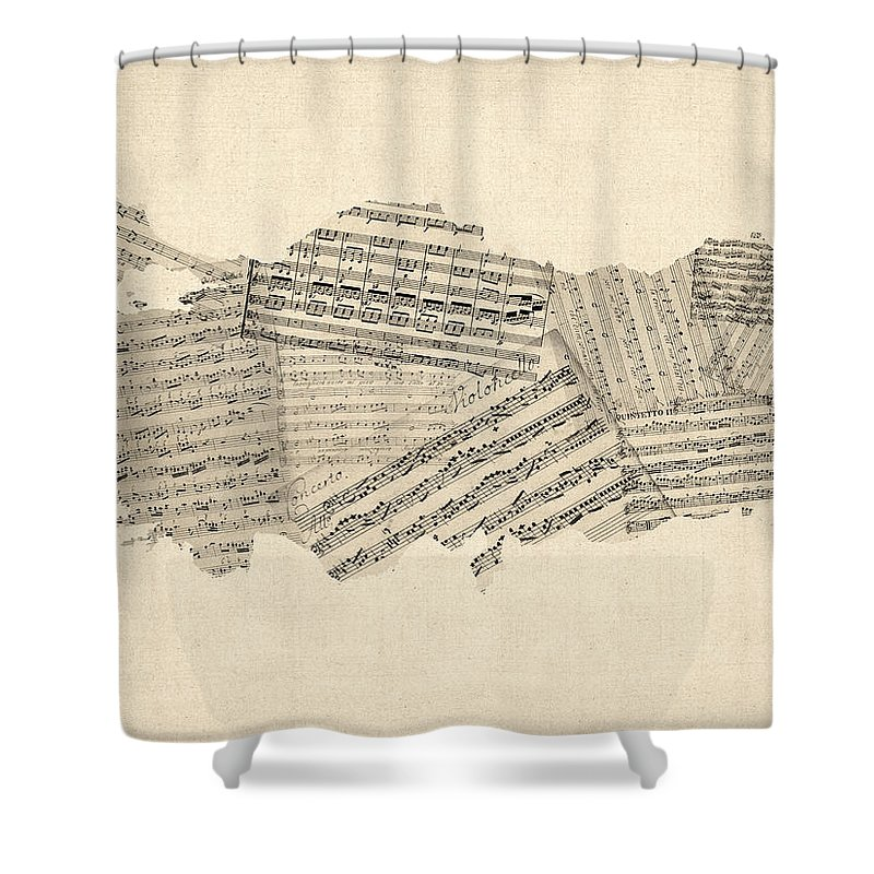 Turkey Shower Curtain Featuring The Digital Art Old Sheet Music Map Of By Michael