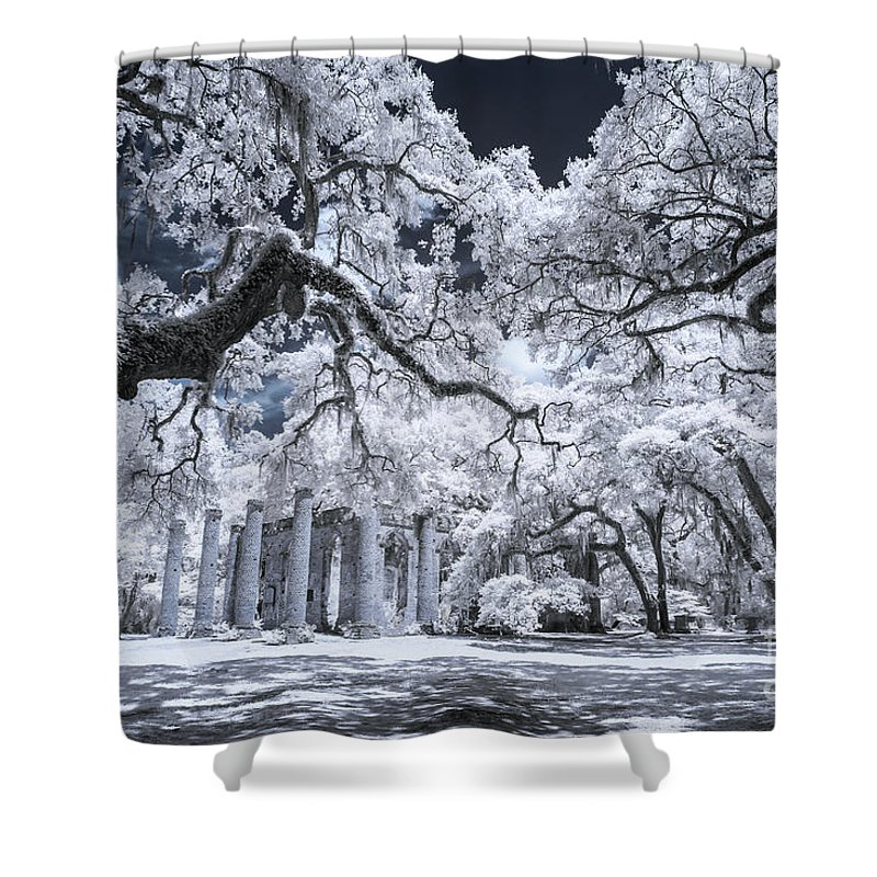 Beaufort Shower Curtain featuring the photograph Old Sheldon Church In Infrared by Charles Hite
