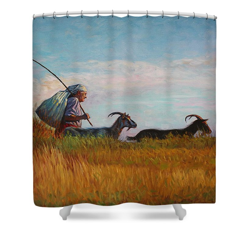 Landscape Shower Curtain featuring the painting Old Shepherd by Alexander Chernitsky