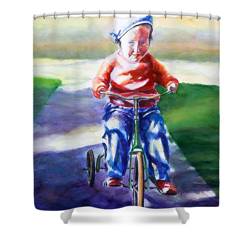 Girl Shower Curtain featuring the painting Old Soul by Shannon Grissom