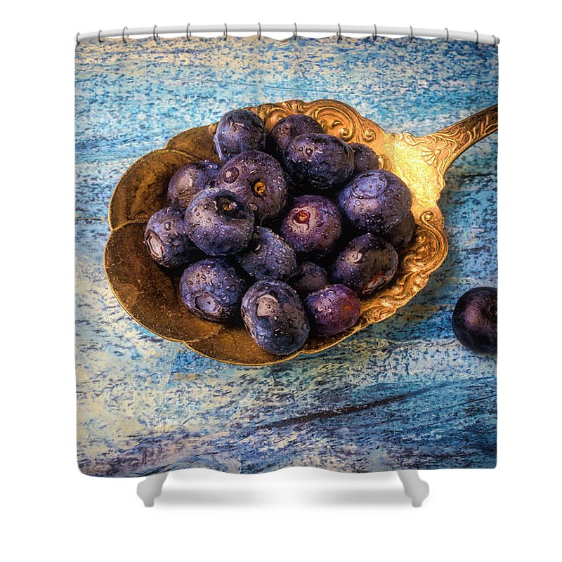 Blueberries Shower Curtain featuring the photograph Old Spoon Full Of Blueberries by Garry Gay