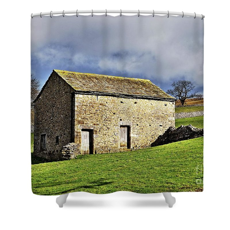 Stone Barns Shower Curtain featuring the photograph Old Stone Barns by Martyn Arnold
