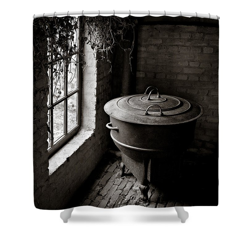 Old Shower Curtain featuring the photograph Old Stove by Dave Bowman