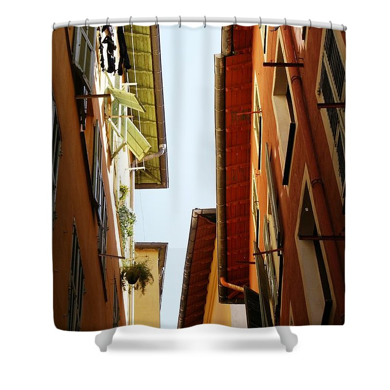 Street Shower Curtain featuring the photograph Old Street In Nice by Maxime Ordureau