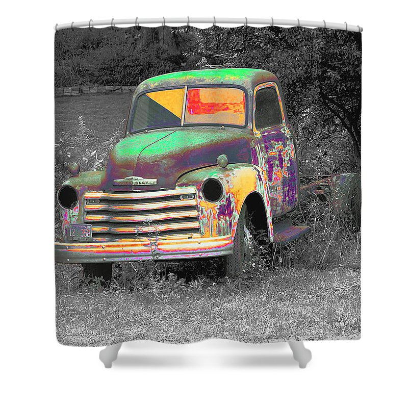 Car Shower Curtain featuring the digital art Old Timer by Robert Meanor