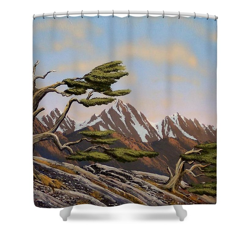 Mountains Shower Curtain featuring the painting Old Timers by Frank Wilson