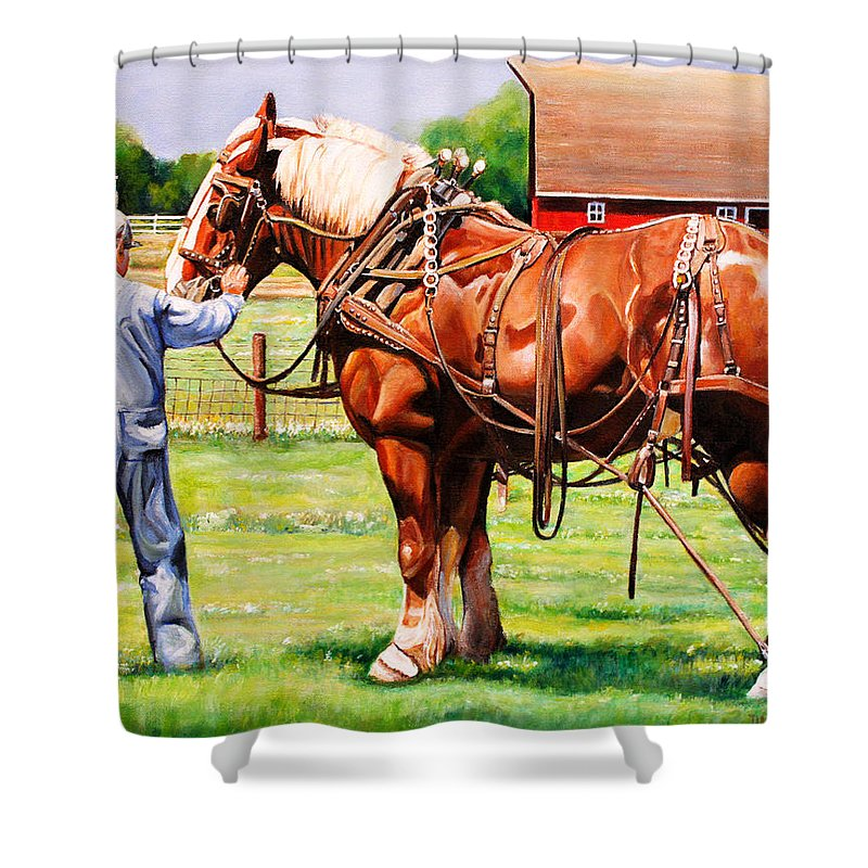 Belgian Shower Curtain featuring the painting Old Timers by Toni Grote