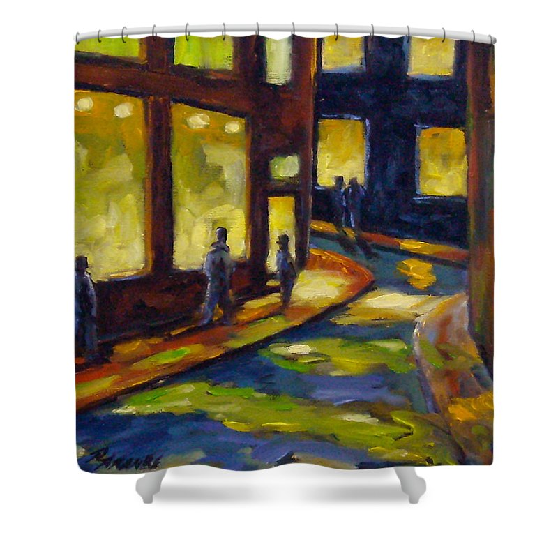 Urban; Scene; People; Night; Street; City; Scape; Love; Shower Curtain featuring the painting Old Town At Night by Richard T Pranke