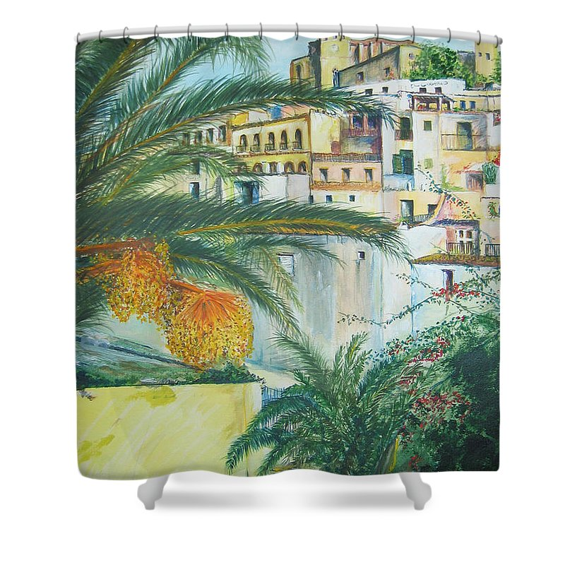 Ibiza Old Town Shower Curtain featuring the painting Old Town Ibiza by Lizzy Forrester