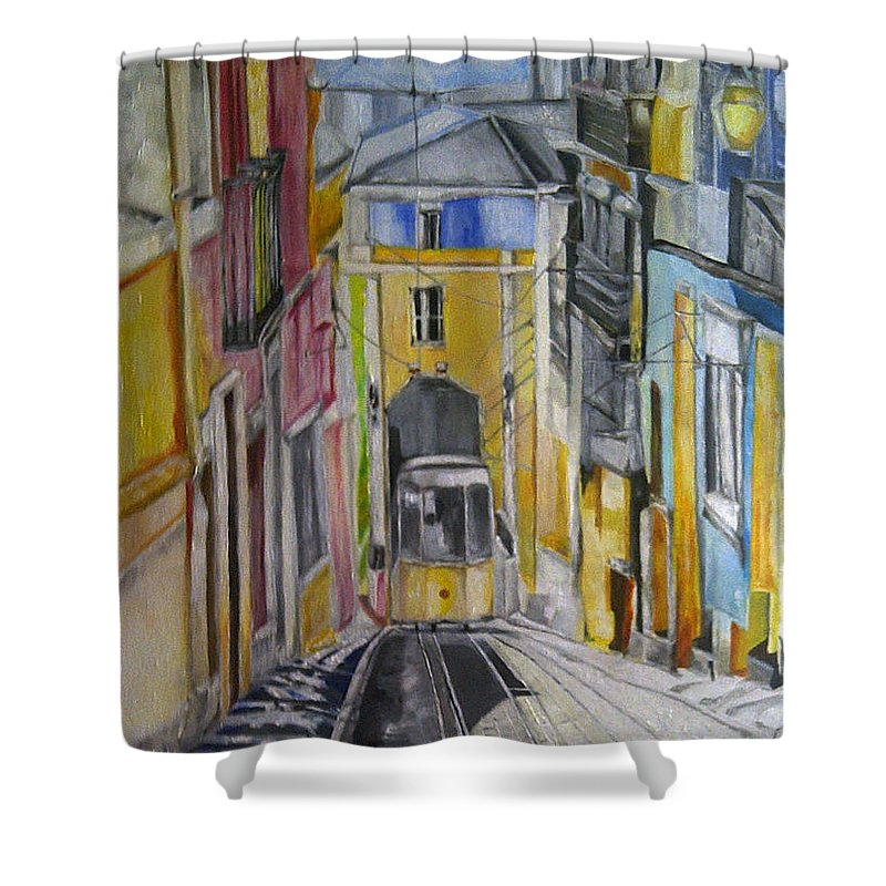 Street Of The Old Town . Pavement . Tram Shower Curtain featuring the painting Old Town Streets by Natali Dilnott