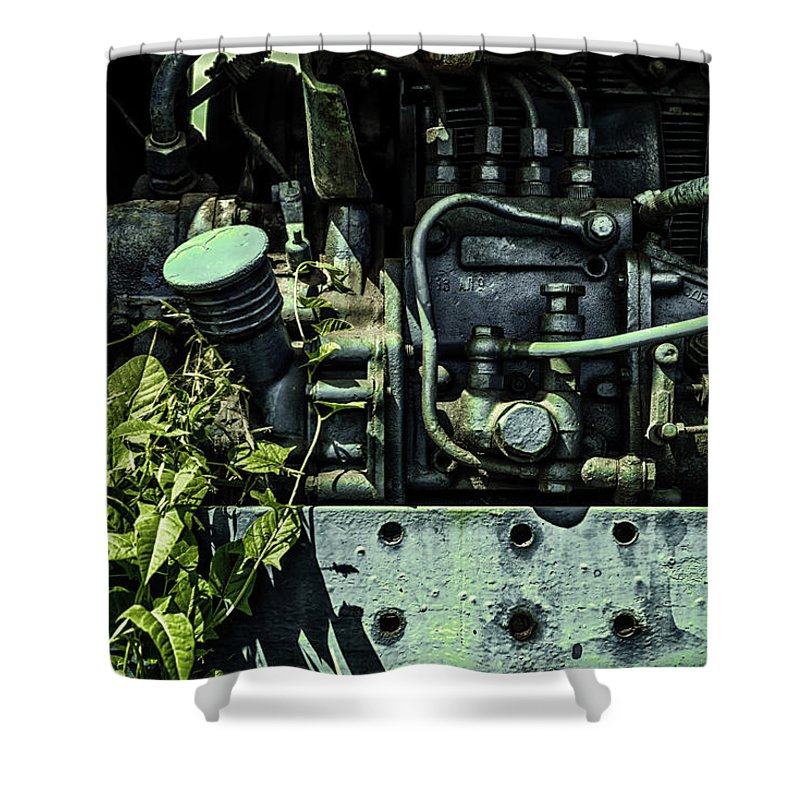 Old Tractor Engine Shower Curtain featuring the photograph Old Tractor Weed Engine In Blue by John Williams