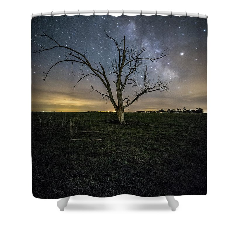 Sky Shower Curtain featuring the photograph Old Tree by Aaron J Groen
