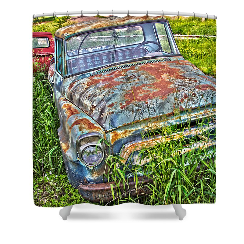 Transportation Shower Curtain featuring the photograph 001 - Old Trucks by David Ralph Johnson