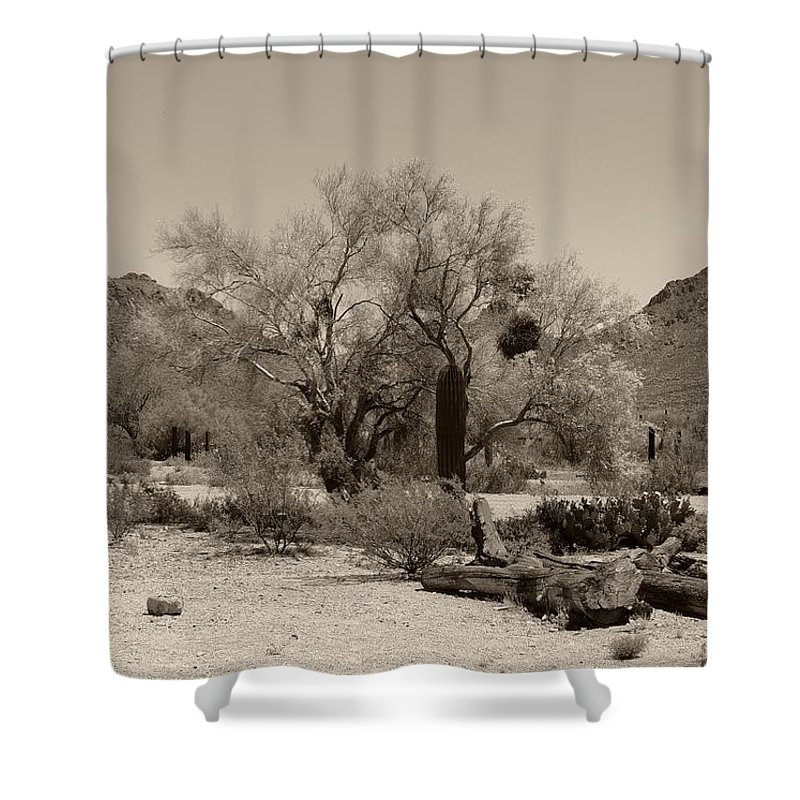 Old Shower Curtain featuring the photograph Old Tucson Landscape by Gordon Beck