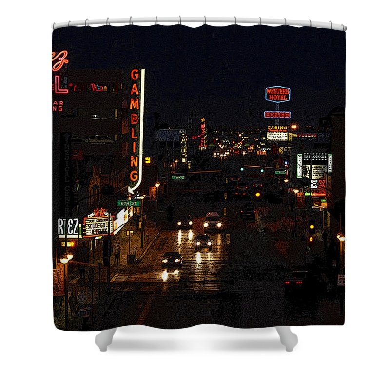 Art Shower Curtain featuring the painting Old Vegas by David Lee Thompson