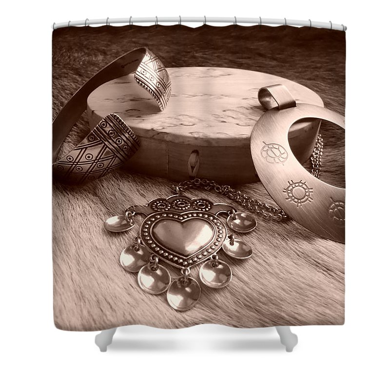 Viking Era Shower Curtain featuring the photograph Old Viking Designs by Merja Waters