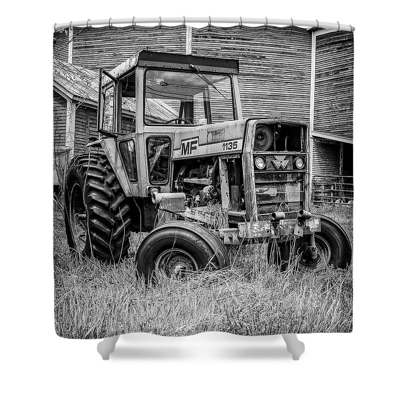 Barn Shower Curtain featuring the photograph Old Vintage Tractor On A Farm In New Hampshire Square by Edward Fielding