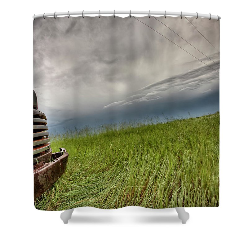 Transportation Shower Curtain featuring the photograph Old Vintage Truck On The Prairie by Mark Duffy