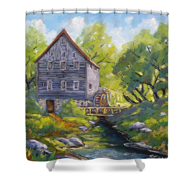 Art Shower Curtain featuring the painting Old Watermill by Richard T Pranke