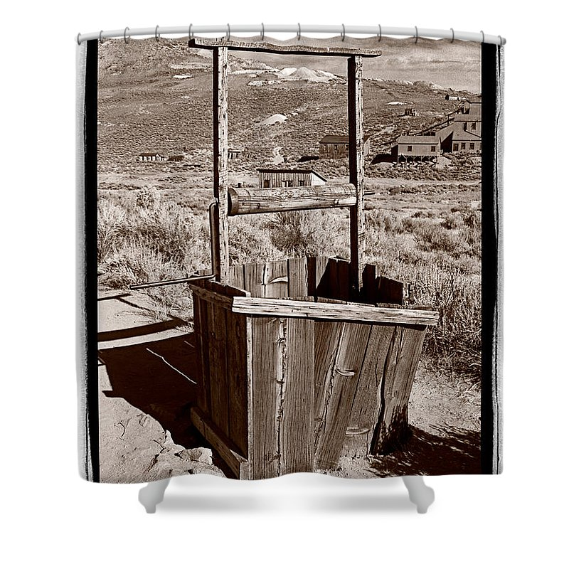 Black Shower Curtain featuring the photograph Old Well Bodie Ghost Twon California by Steve Gadomski