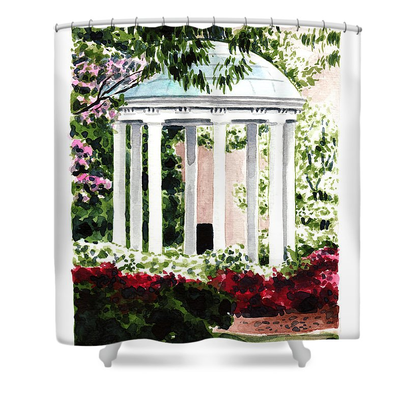 Old Well Shower Curtain Featuring The Painting Chapel Hill Unc North Carolina By Laura