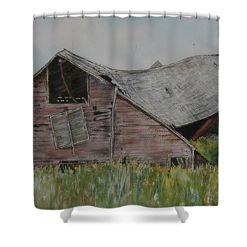 Old Shower Curtain featuring the painting Old Wisconsin Barn by Patricia Ricci