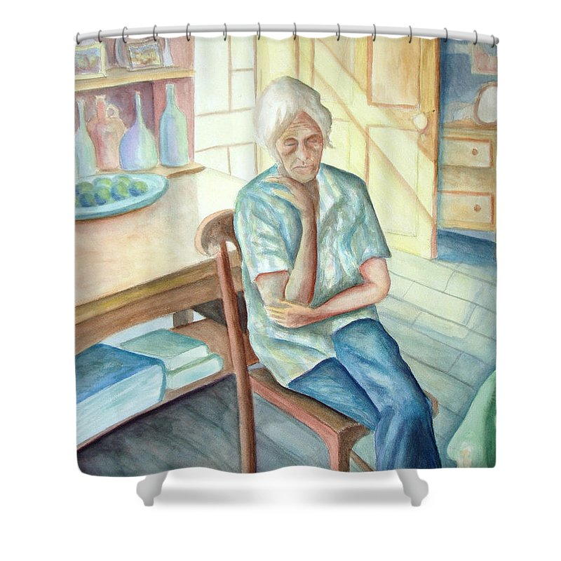 Woman Shower Curtain featuring the painting Old Woman by Nancy Mueller