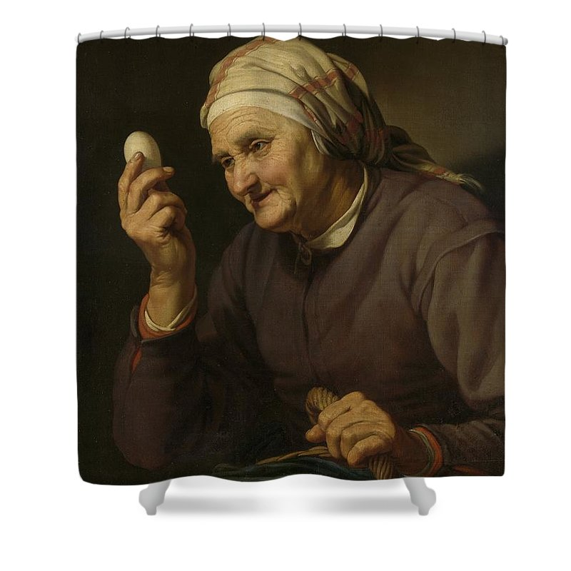Active Shower Curtain featuring the painting Old Woman Selling Eggs, 1632 by Hendrick Bloemaert