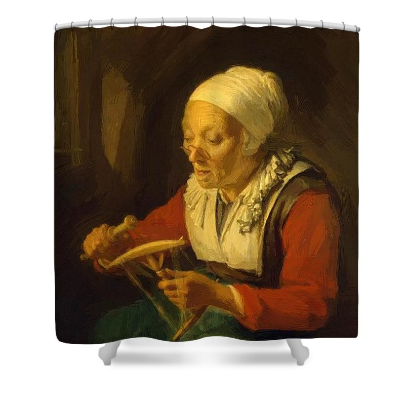 Old Shower Curtain featuring the painting Old Woman Unreeling Threads 1665 by Dou Gerrit