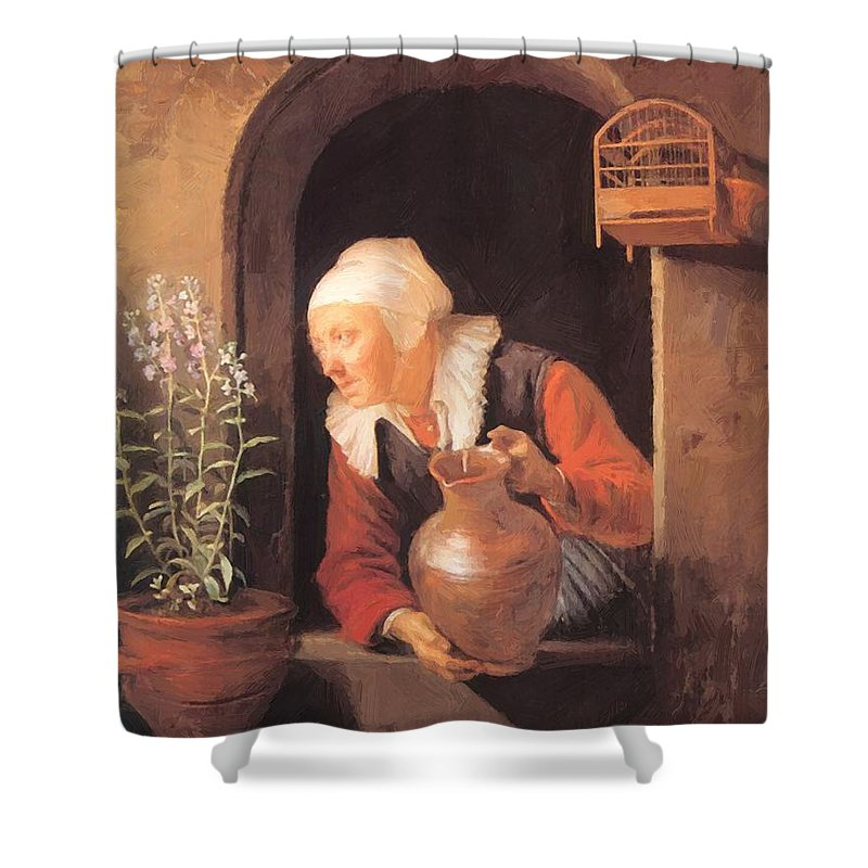 Old Shower Curtain featuring the painting Old Woman Watering Flowers 1665 by Dou Gerrit