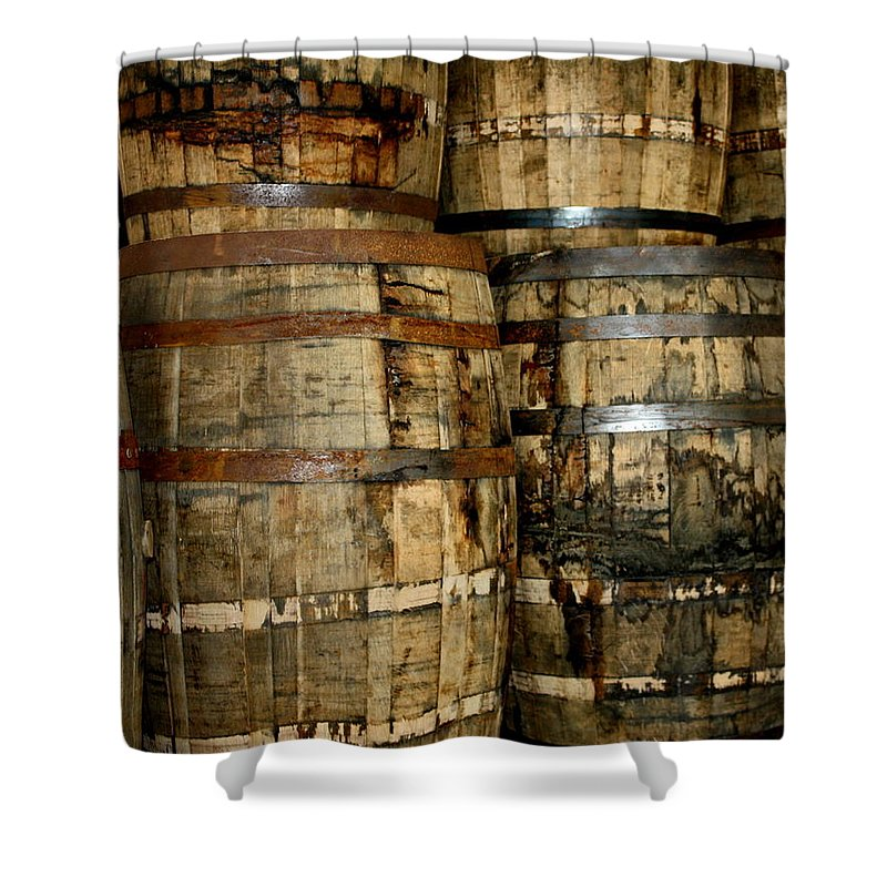Barrels Shower Curtain featuring the photograph Old Wood Whiskey Barrels by Terry Fleckney