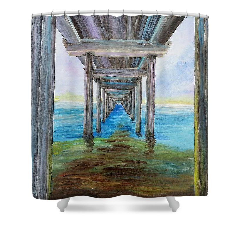 Scripps Pier Shower Curtain featuring the painting Old Wooden Pier by Irving Starr
