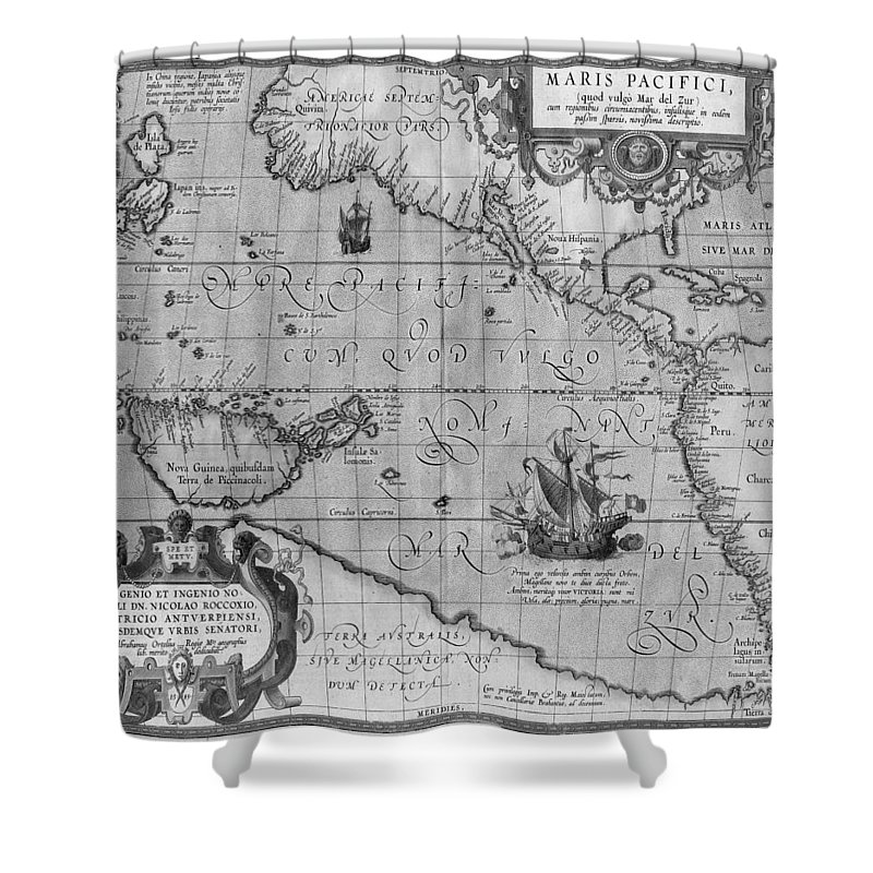 Old World Map Shower Curtain Featuring The Drawing Print From 1589