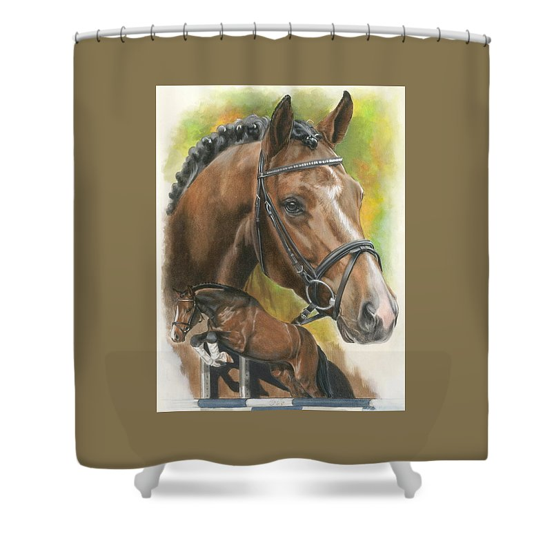 Hunter Jumper Shower Curtain featuring the mixed media Oldenberg by Barbara Keith