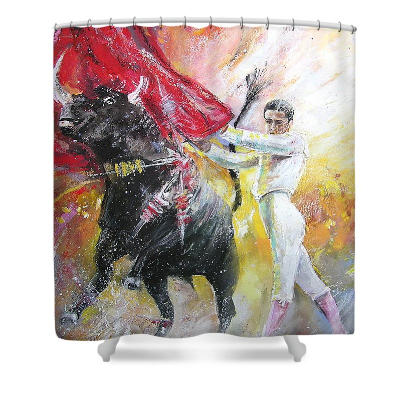 Animals Shower Curtain featuring the painting Ole by Miki De Goodaboom
