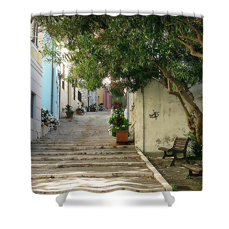 Numana Shower Curtain featuring the photograph Oleander Steps by Maria Joy