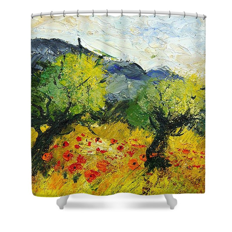 Flowers Shower Curtain featuring the painting Olive Trees And Poppies by Pol Ledent