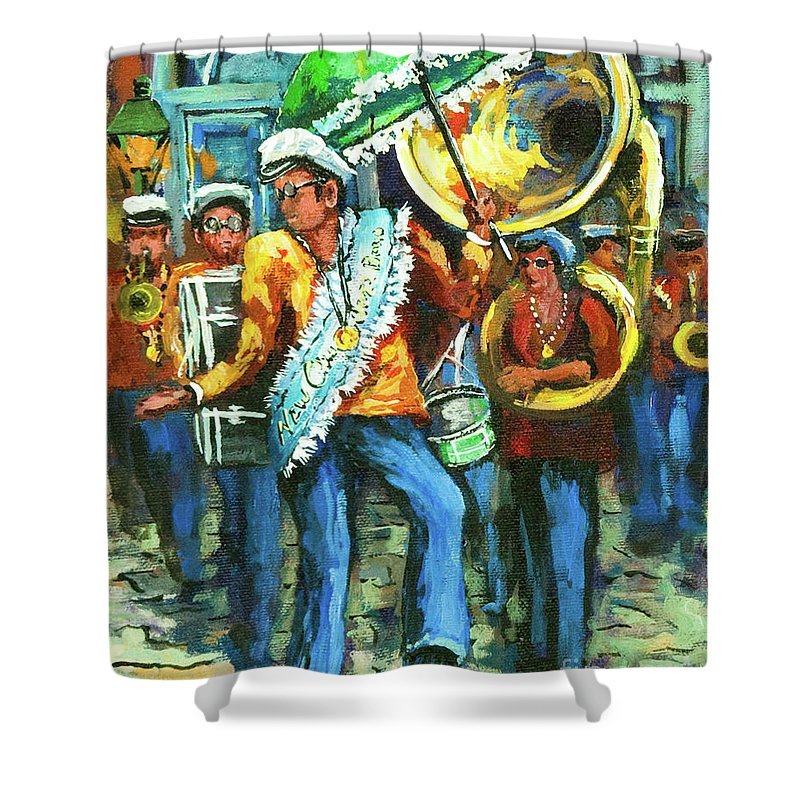 Olympia Shower Curtain featuring the painting Olympia Brass Band by Dianne Parks